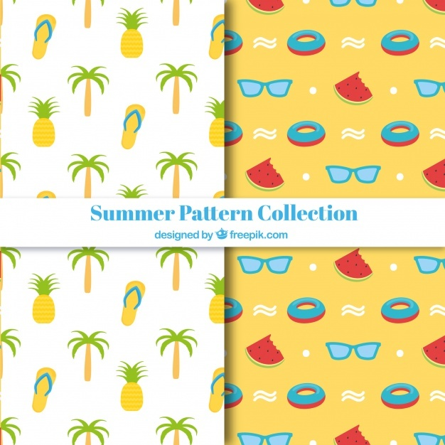 Decorative summer patterns with tasty fruits