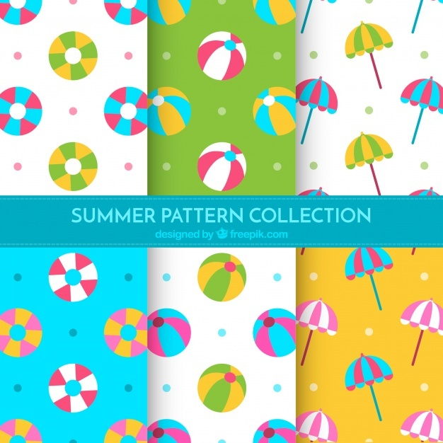 Flat set of summer patterns with decorative items
