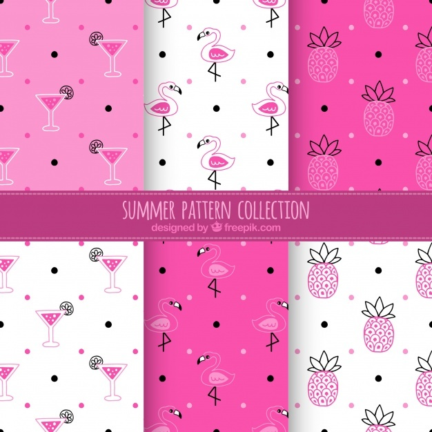 Pink and white summer pattern collection