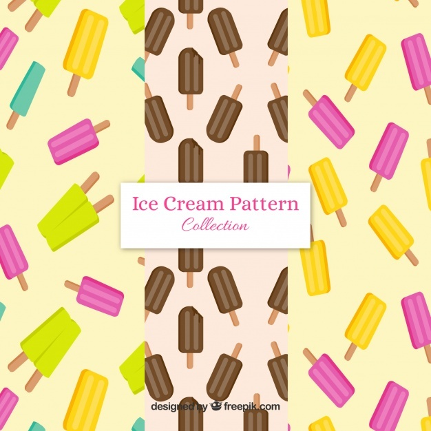Flat selection of three patterns with popsicles