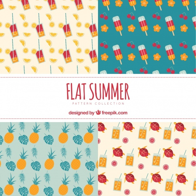 Decorative summer patterns in flat design