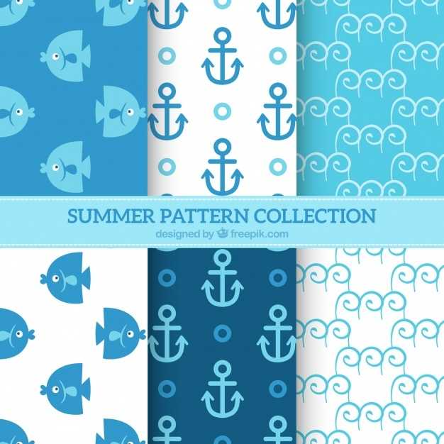 Blue and white summer pattern background