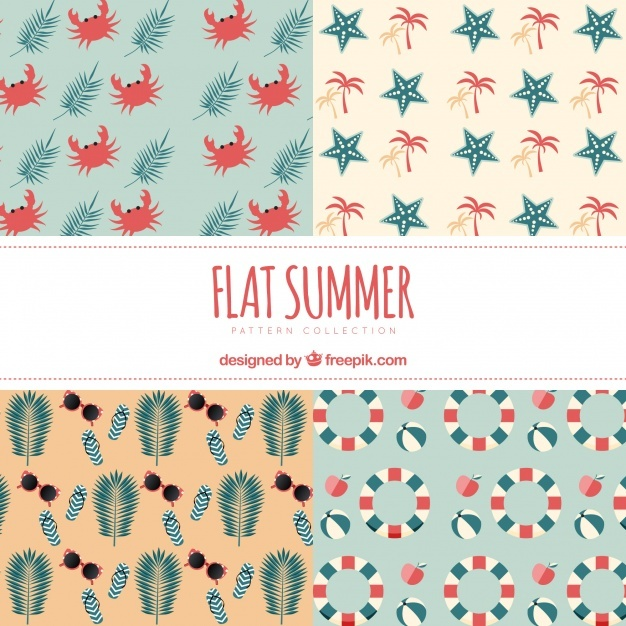 Set of decorative summer patterns in flat design