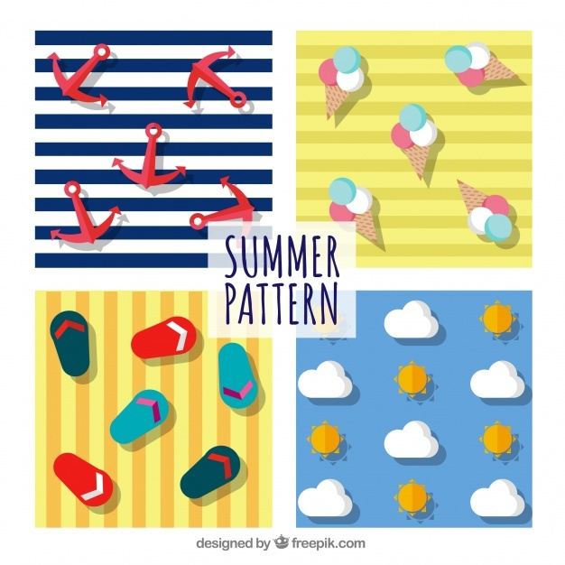 Summer elements and stripes pattern background