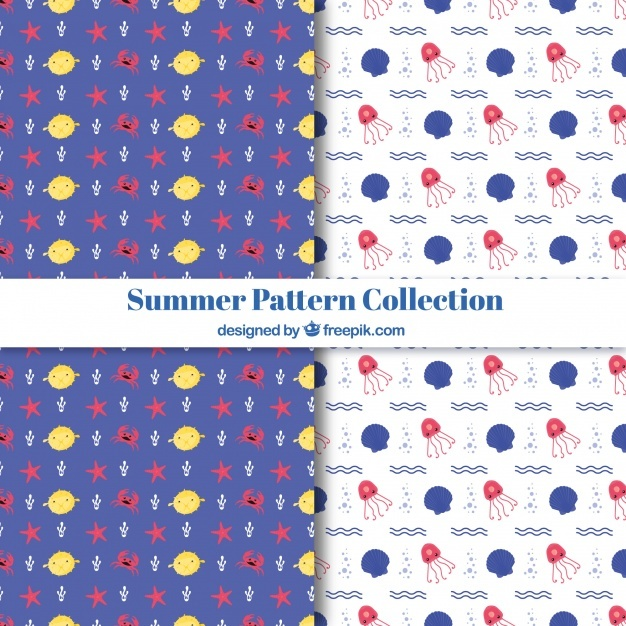 Set of decorative summer patterns