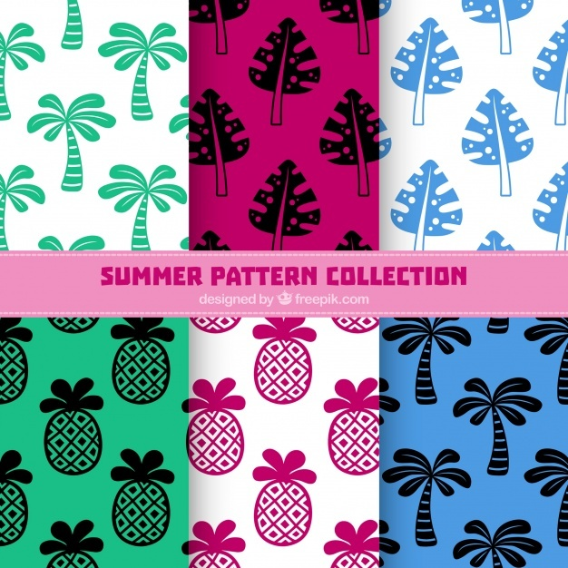Palm tree summer pattern collection