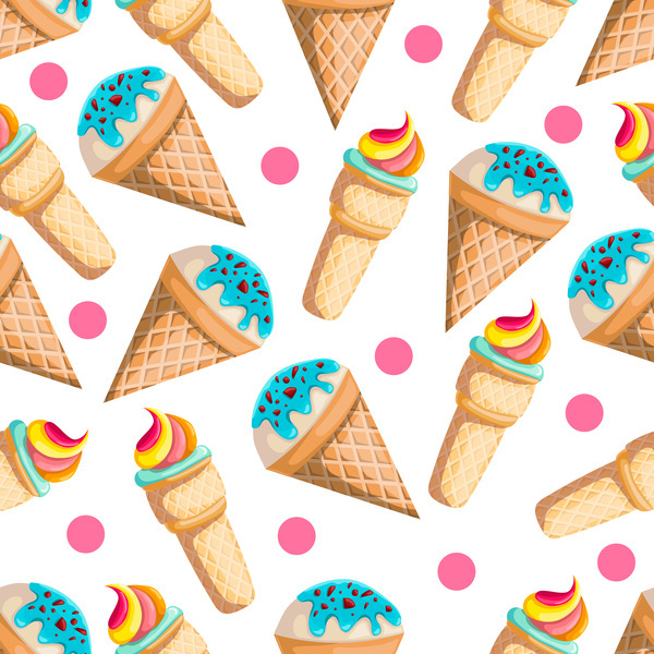 Free EPS file Ice cream seamless pattern vector material 07 download