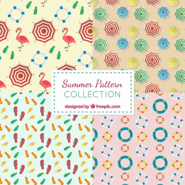 Several summer patterns in flat design