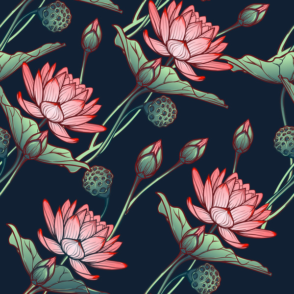 free EPS file lilies flower seamless pattern vector 05 download