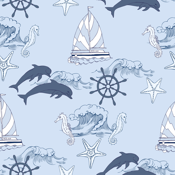Free EPS file Sea elements seamless pattern vector 02 download