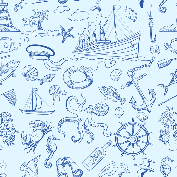 Free EPS file Sea elements seamless pattern vector 01 download