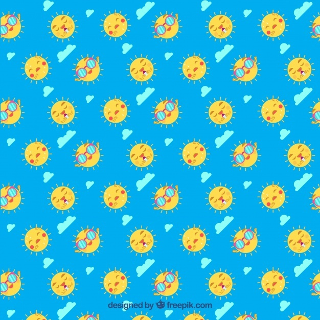 Blue pattern with sun characters and decorative clouds