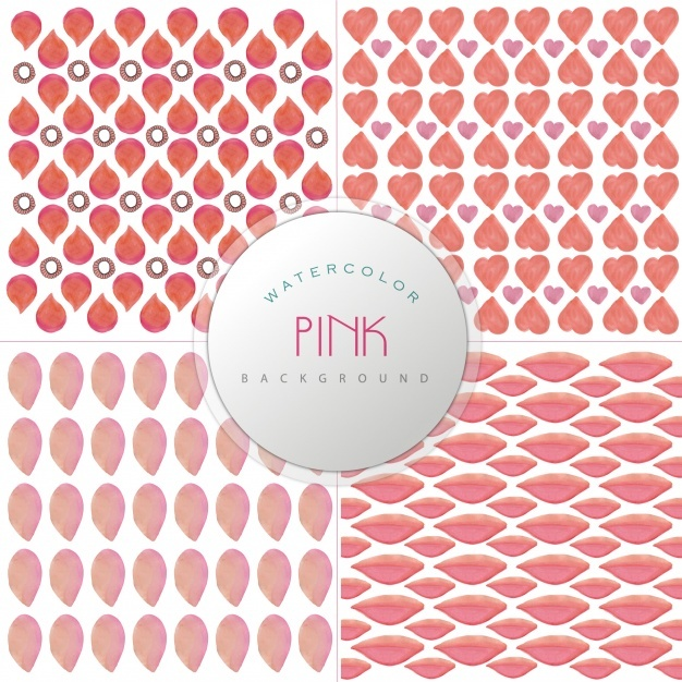 Pink watercolor pattern background collection