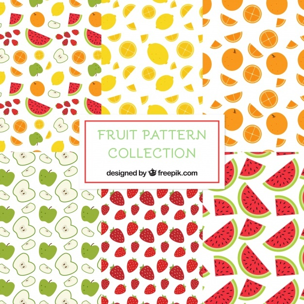 Flat assortment of six decorative fruit patterns