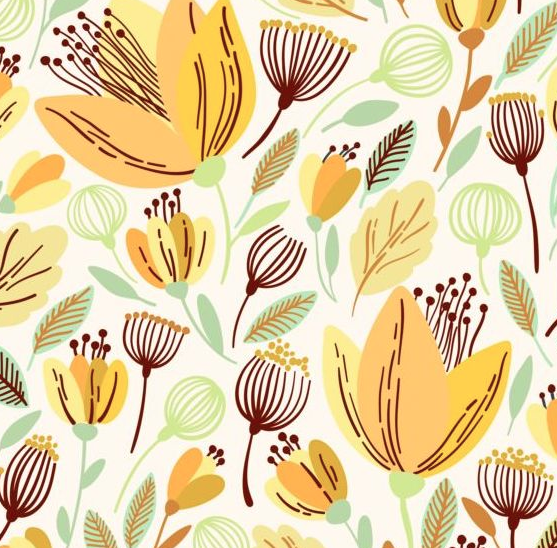 free EPS file Seamless hand drawn flower pattern vector 03 download