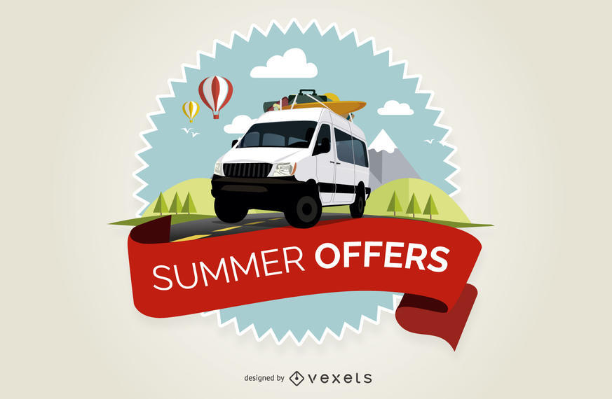 SUMMER OFFERS BADGE WITH DIFFERENT ELEMENTS