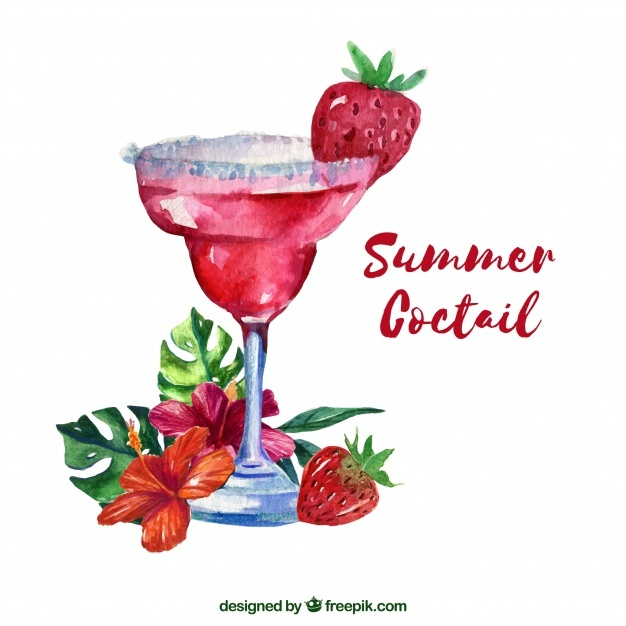 Watercolor summer cocktail background