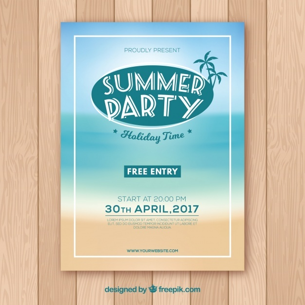 Summer party poster with beach design