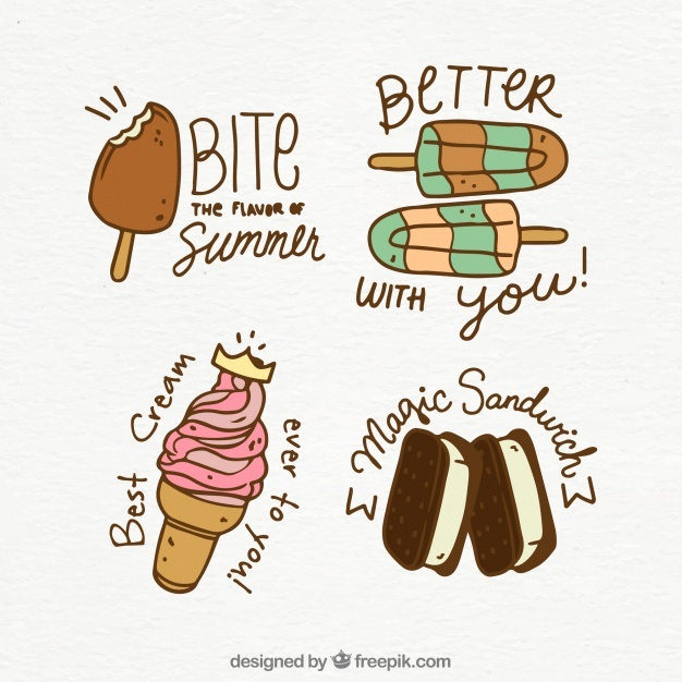 Ice cream collection with quote