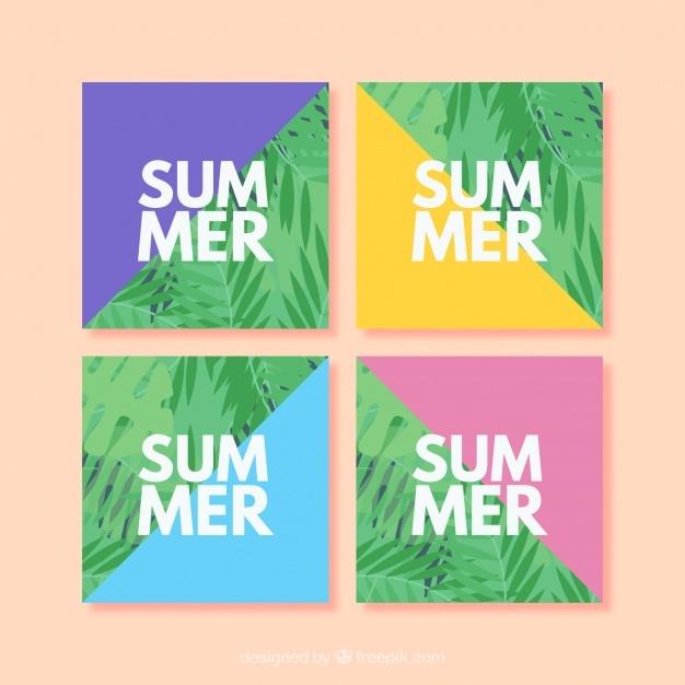 Colorful summer card collectio