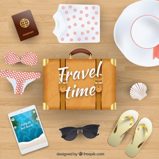 Realistic summer travel background