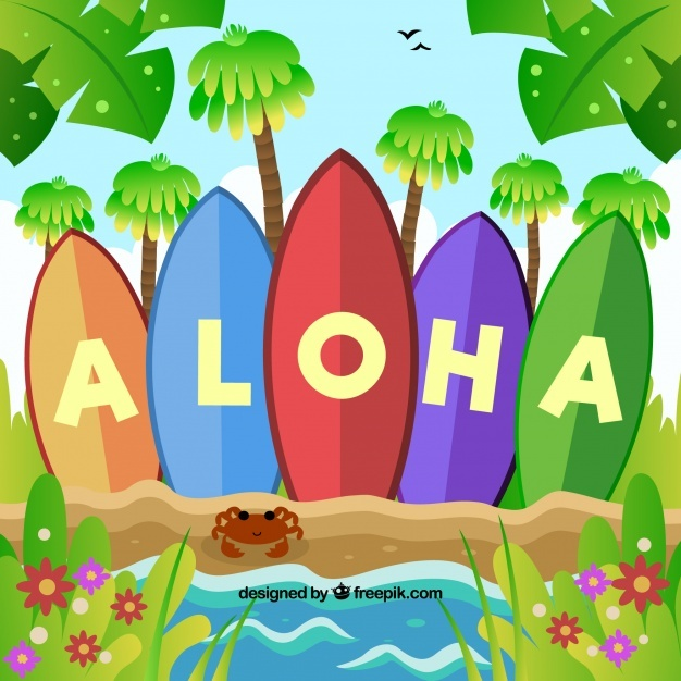 Surfboard background with aloha word