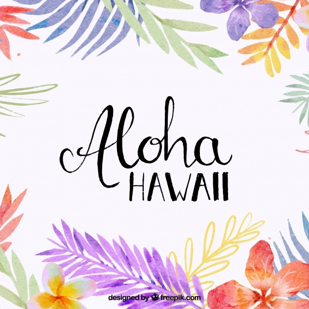 Aloha background with watercolor leaves