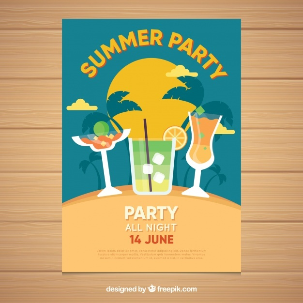 Brochure with summer drinks for party