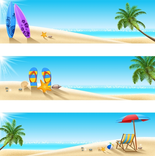 Free EPS file 3 summer beach banners vector download