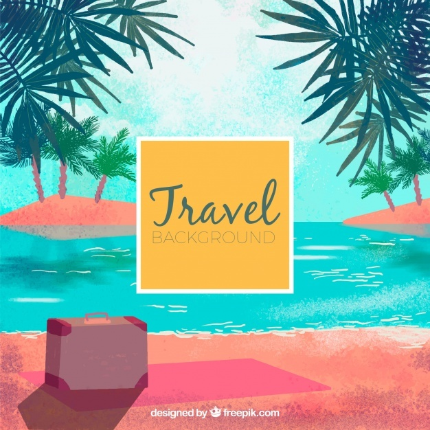 Watercolor island background with suitcase