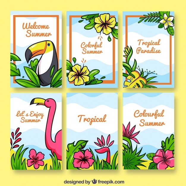 Tropical flowers card collection