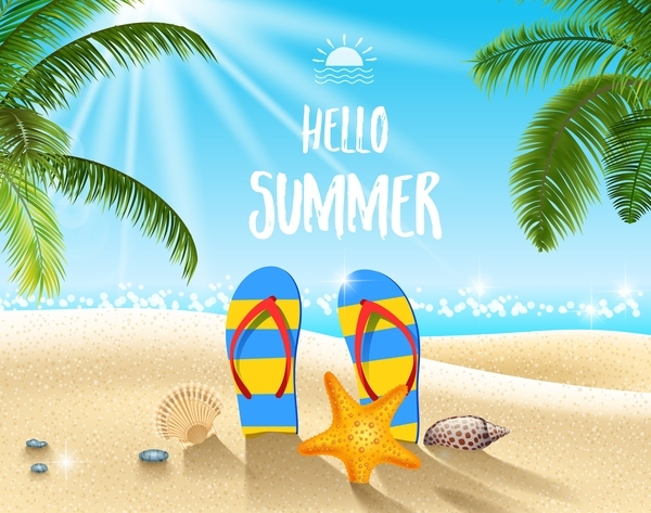 Free EPS file Summer travel background with slippers vectors download