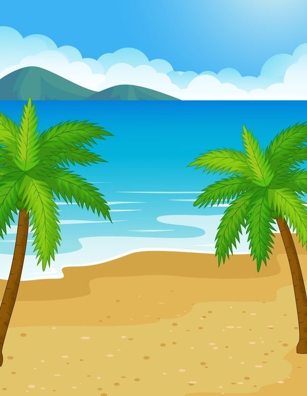 Free EPS file Palm tree with sea vector background download