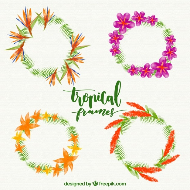 Pack of watercolor floral wreaths