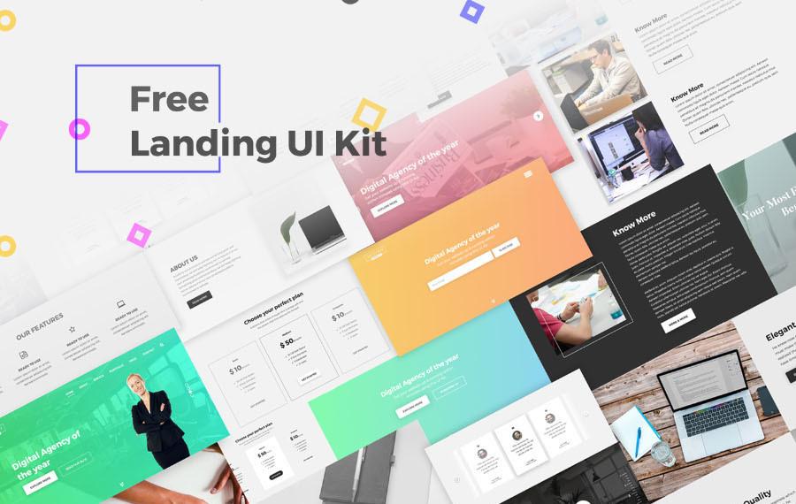 Free PSD Landing UI Kit