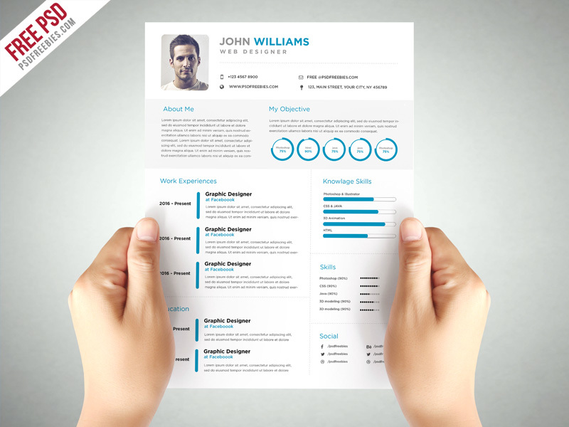 Clean and Elegant Resume Template PSD free download