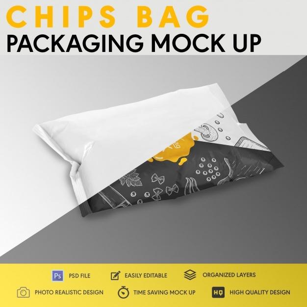 Chips bag packaging mock up