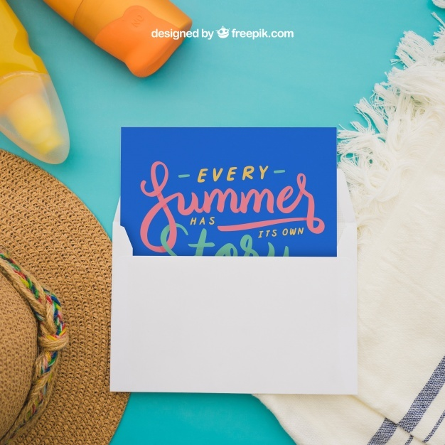 Summer concept with postcard
