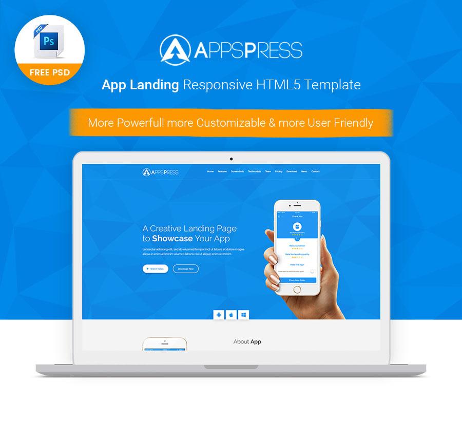 App Landing Free PSD Template