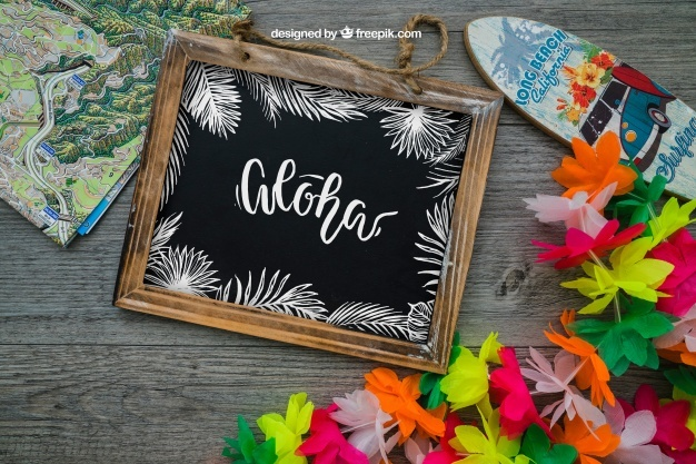 Aloha decoration with slate and surfboard