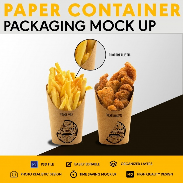 Paper container packaging mock up