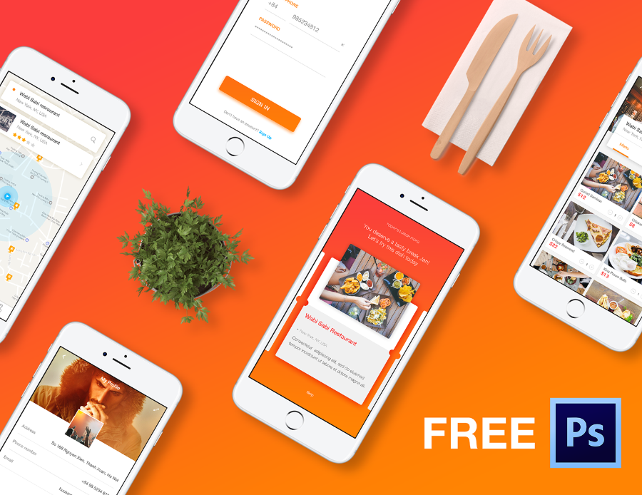 COOK Mobile App PSD Template