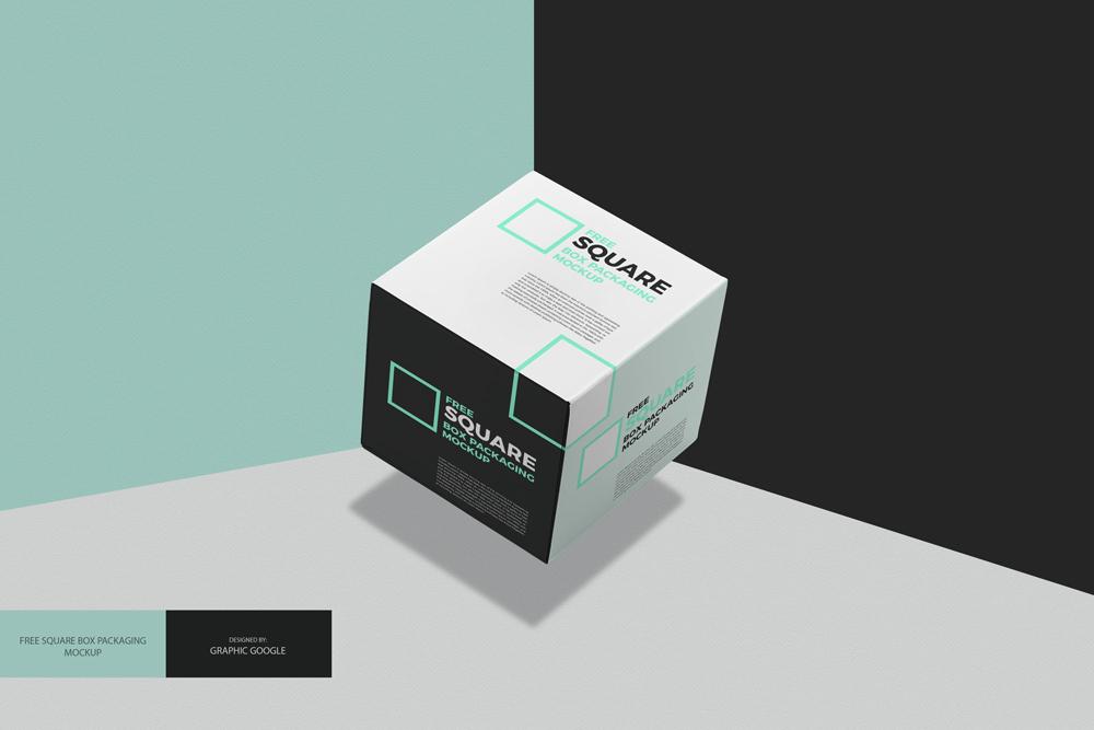 Free Square Box Packaging Mockup