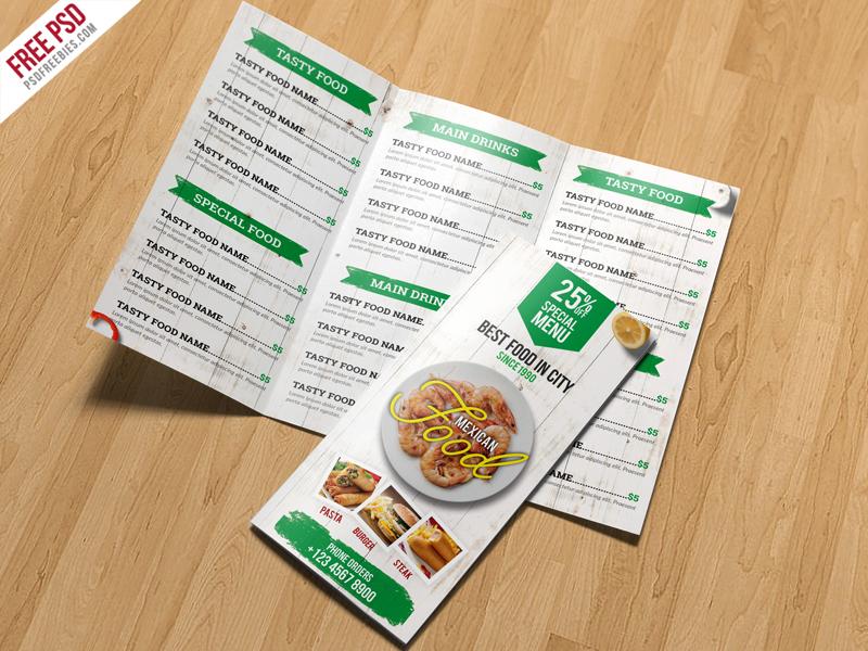 Restaurant Menu TriFold Brochure PSD Template
