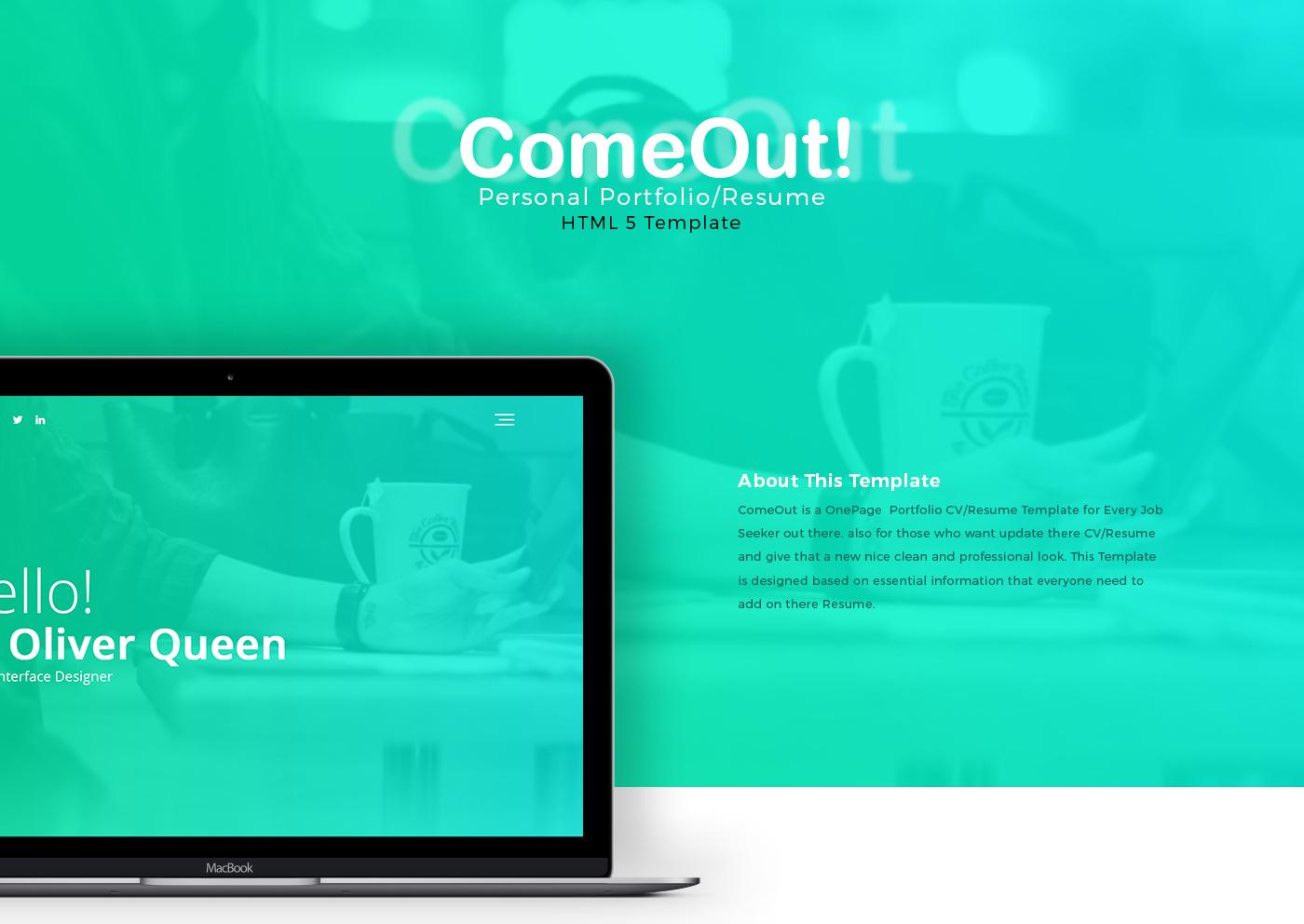 ComeOut - Portfolio/Resume Template | FREEBIE