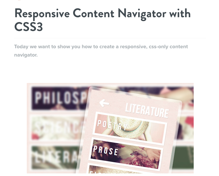 Content Navigator with CSS3