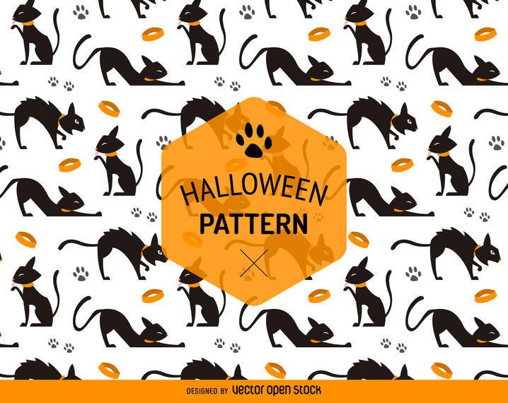 HALLOWEEN SEAMLESS CAT PATTERN