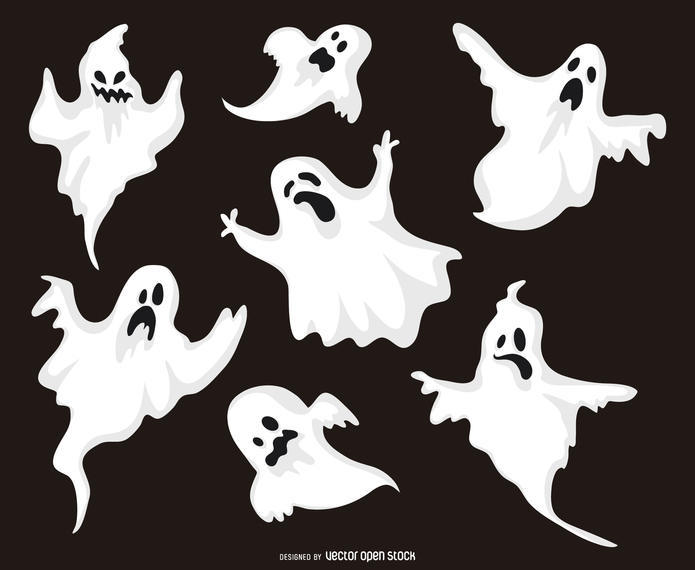 HALLOWEEN GHOST ILLUSTRATIONS SET