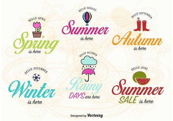 Spring, Summer, Autumn and Winter Label Vectors