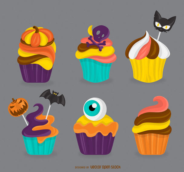 HALLOWEEN CUPCAKES ILLUSTRATION